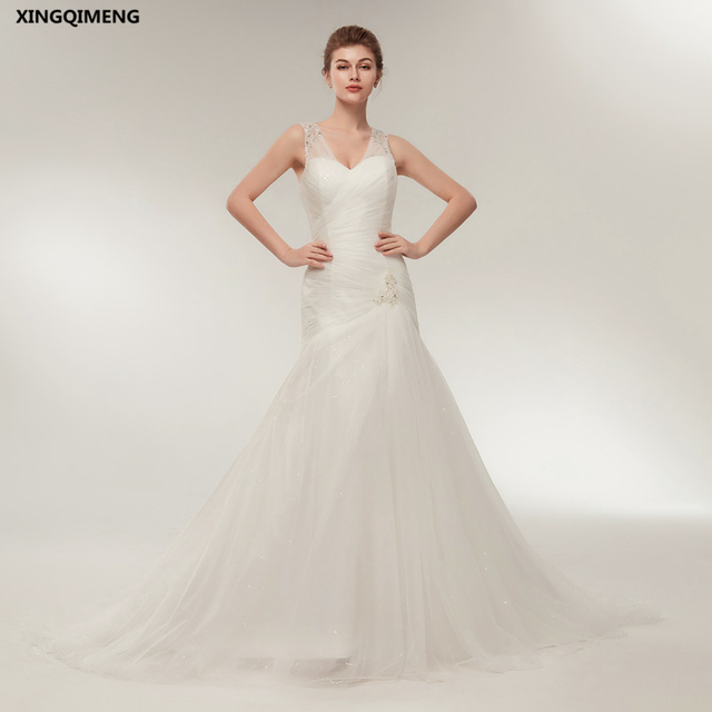 e38ee35bfed In Stock Ivory Sexy Mermaid Wedding Dress Beaded Cheap Simple White Wedding  Dresses Long Chic Bridal Gown Elegant robe de mariee