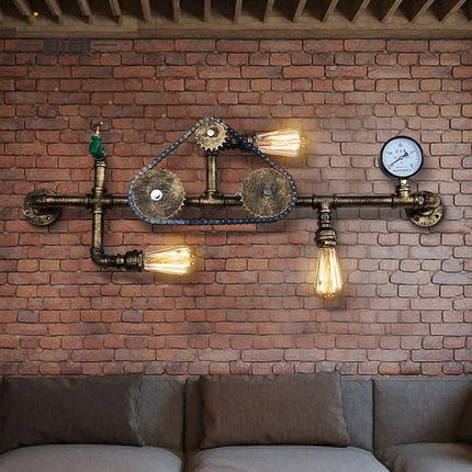 Nordic Loft Style Iron Water Pipe Lamp Edison Wall Sconce Antique Wall Light Fixtures For Indoor Vintage Industrial Lighting nordic loft style industrial water pipe lamp vintage wall light for home antique bedside edison wall sconce indoor lighting