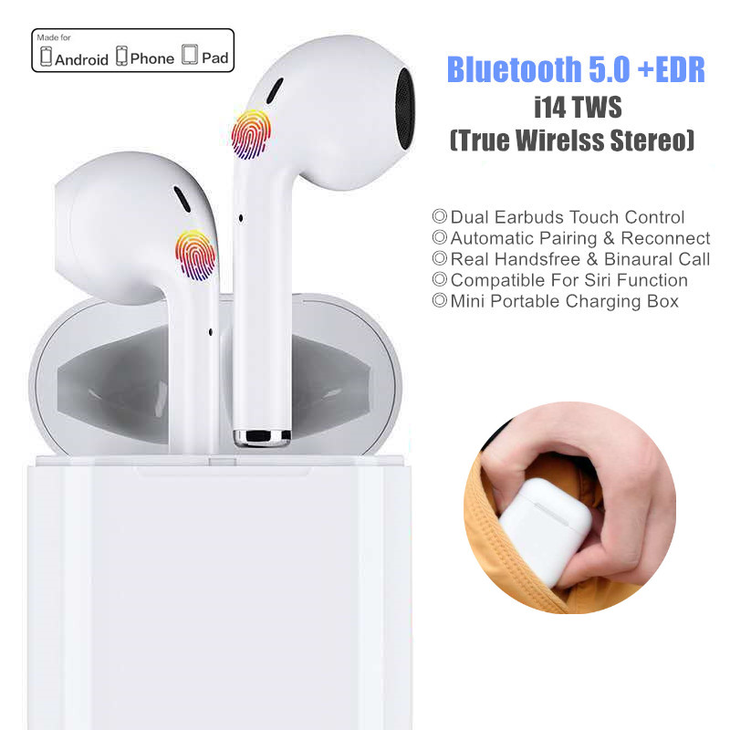 <font><b>i14</b></font> <font><b>TWS</b></font> Touch Control True Wireless <font><b>Earbuds</b></font> Bluetooth Earphone Sport Handsfree Bluetooth Headset With Microphone Charging Box image