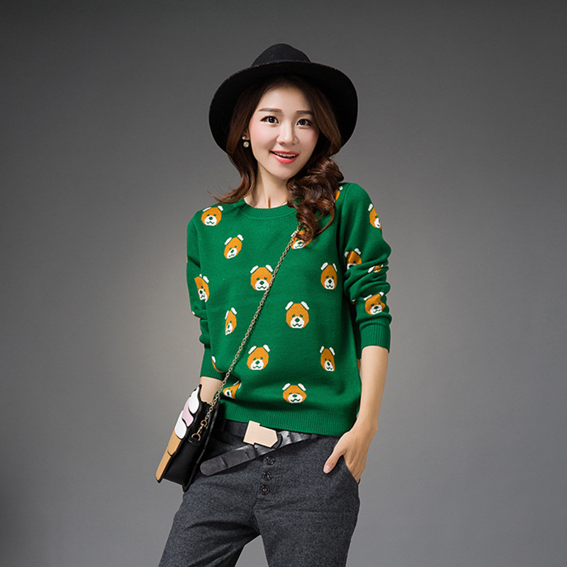 2017 Autumn and winter new women s cartoon bear knitted sweater Long sleeve Pullover bottoming Slim