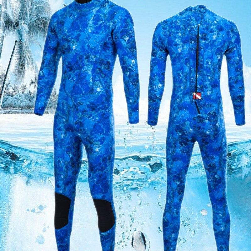 Hommes Camouflage 3mm une-pièce Surf tuba plongée costumes épais plongée en apnée Surf costume à manches longues eau hiver natation combinaisons
