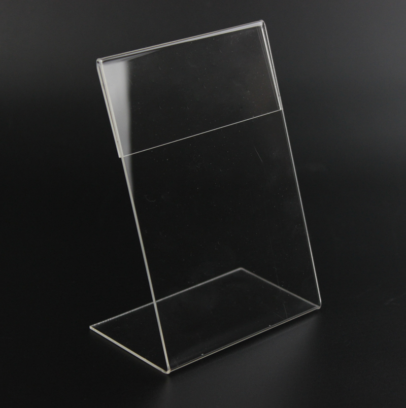 Acrylic T1.3mm Vertical Clear L Shape Plastic Table Sign Price Tag Label Display Rack Paper Promotion Card Holders Stands 20pcs