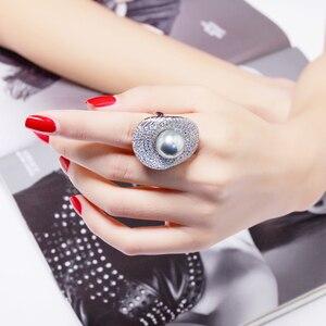Image 1 - خاتم لؤلؤ رمادي كبير للسيدات مجوهرات فاخرة زهرة لوتس ليف موضة كريستال خاتم كبير أفضل هدية للأم