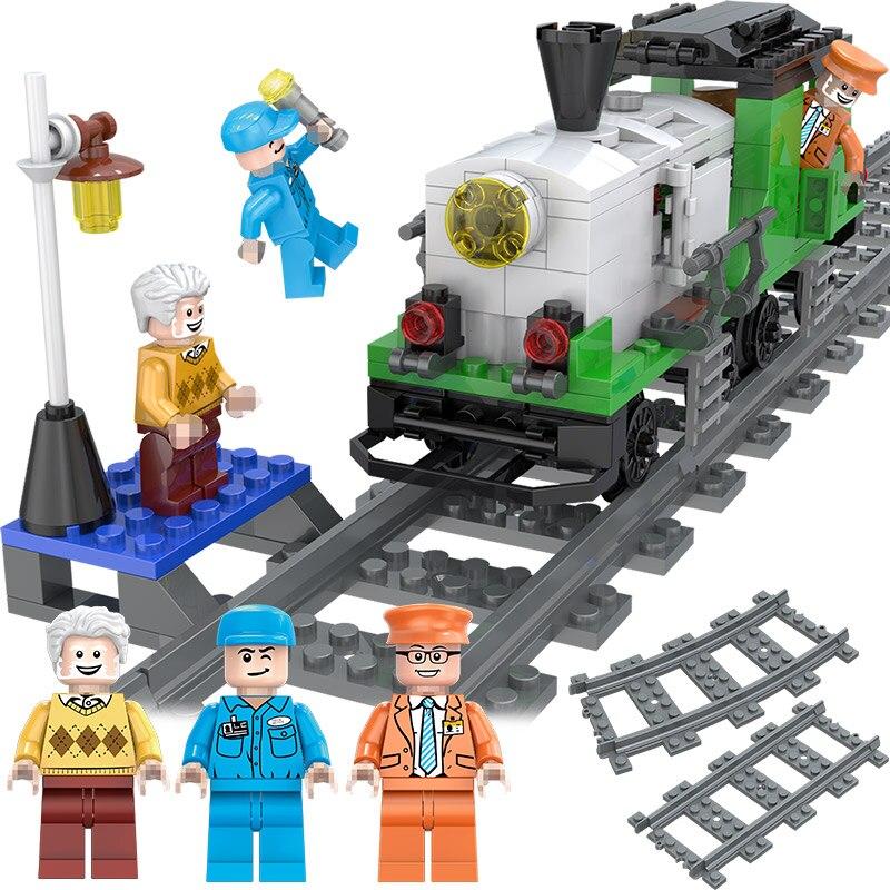 Ville À Vapeur Fret Locomotive Blocs de Construction Compatibe LegoINGLYS Piste Train Station Chiffres Designer Éducatifs Pour Enfants Jouet
