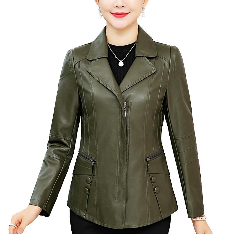 Plus Size 6XL Green Black   Leather   Jacket Women Clothes Jaqueta Feminina Zipper Motorcycle Short PU   Leather   Bomber Jacket C4595
