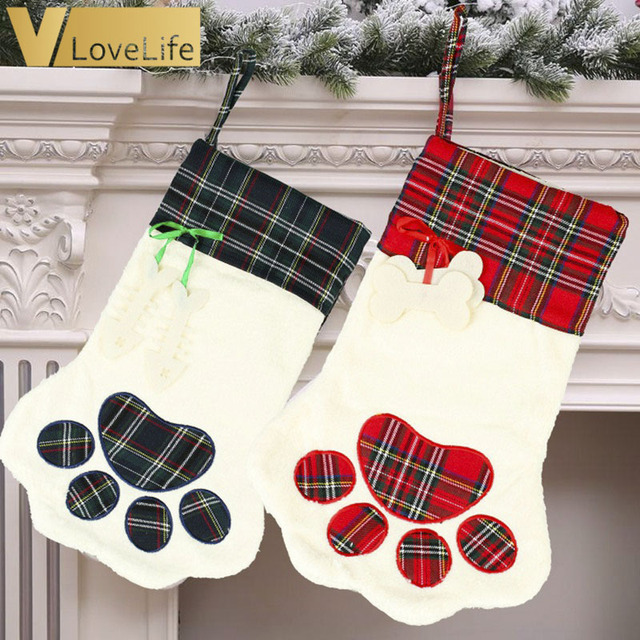 Cat Christmas Stockings.Us 5 75 22 Off 46x28cm Big Pet Christmas Stockings For Dogs Cat Plaid Snowflake Xmas Tree Christmas Socks Sack New Year Gifts Bags In Stockings