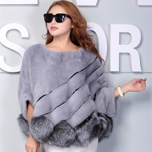 Real Mink Fur Coat And Mink Collar Short Female Mink Mink Fur Shawl Bat Sleeve HeadWinter Jacket Women 2016