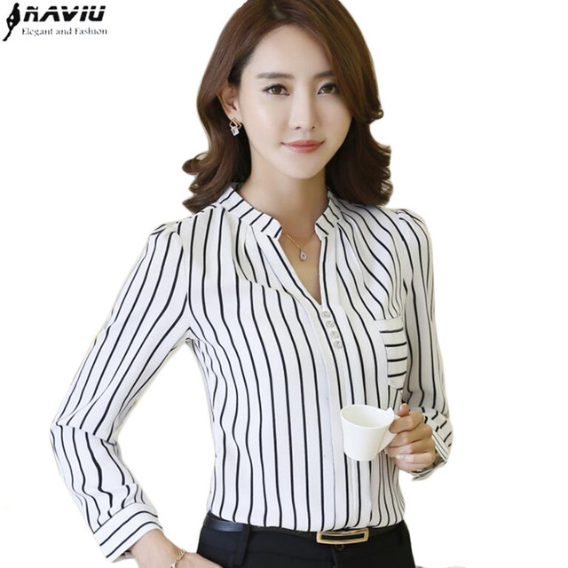 f98be5601c3 New fashion women stripes shirt OL long sleeve V-neck chiffon blouse office  ladies plus size work wear slim tops