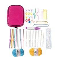 Urijk 51Pcs Set Crochet Hooks Set Hand Knitting Needles For Needlework Smooth Yarn Stitches Weave Craft