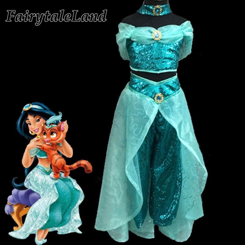 Girls Jasmine costume kids Halloween costumes belly dance clothing Aladdin and the Magic Lamp Princess Jasmine cosplay costume