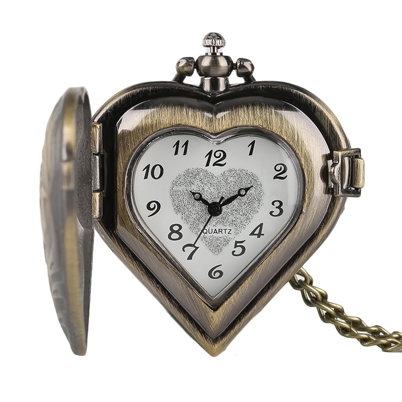 Retro Heart Shape Bronze Pendant Pocket Watches With Necklace Chain Cool Quartz Fob Watch For Women Ladies Girls Best Gift