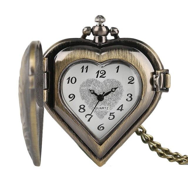 Retro Heart Shape Bronze Pendant Pocket Watches with Necklace Chain Cool Quartz