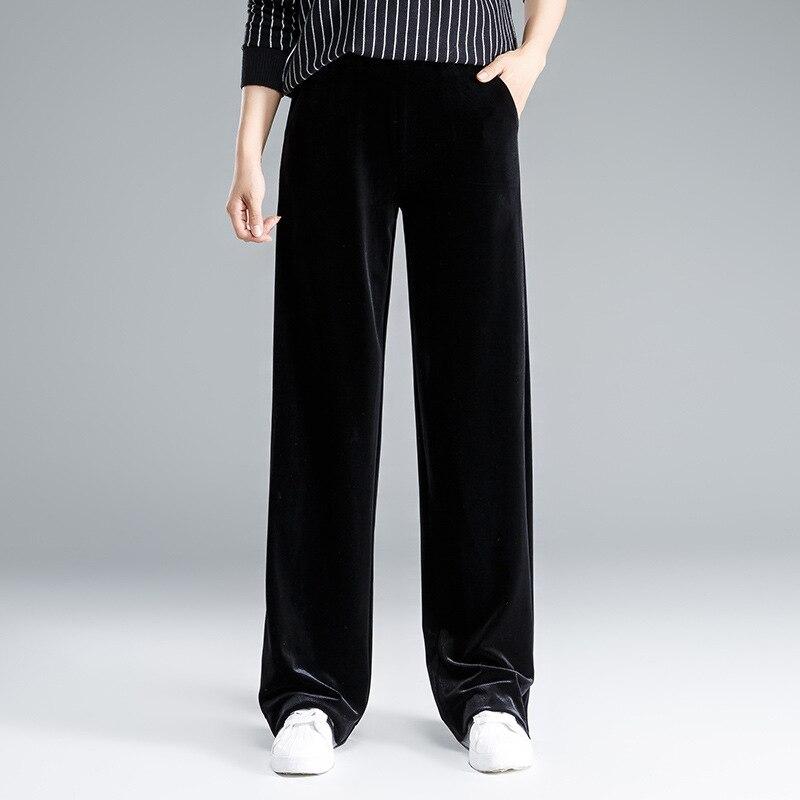 ACRMRAC Women's   pants   autumn Loose Elastic waist Slim High waist Solid color Pleuche Wide leg   pants   Full Length   Pants   &   Capris