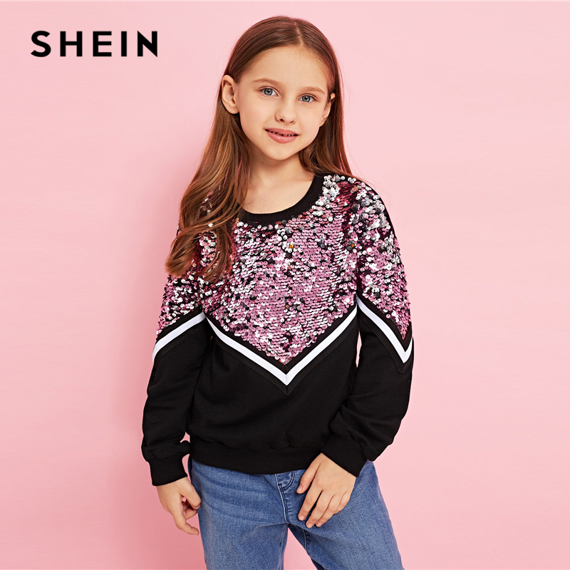 Image 3 - SHEIN Kiddie Contrast Sequin Casual Pullover Sweatshirts For Girls Tops 2019 Spring Korean Long Sleeve Kids Teenager Clothes-in Hoodies & Sweatshirts from Mother & Kids