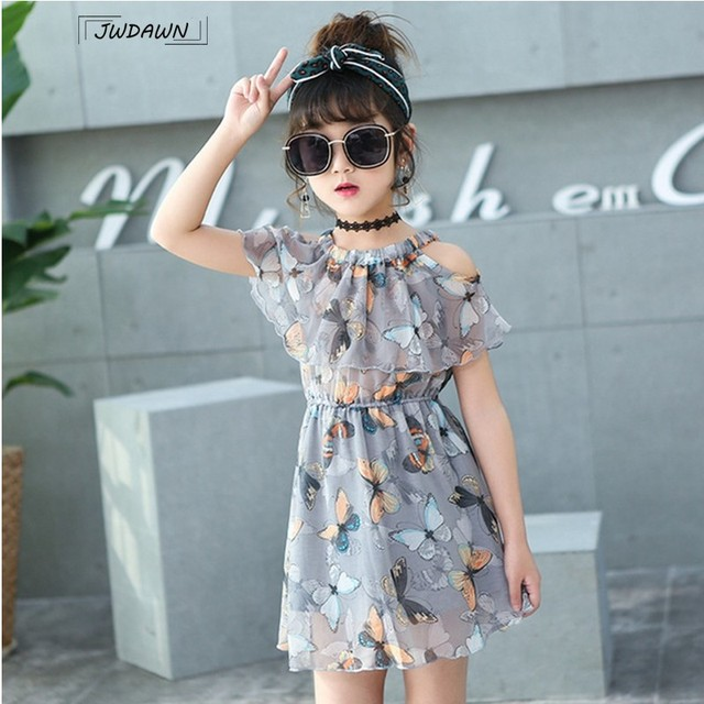 Flower Girl Dresses Floral Butterfly Party Girls Dresses Princess Dress Summer Party Teenagers Clothes for Girls Dress Vestidos