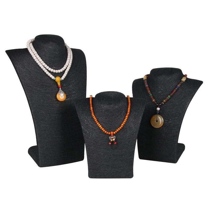 3 pièces/ensemble corde de chanvre noir PVC Portrait artisanat bijoux support Rack poitrine modèle de haute qualité bijoux affichage