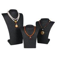 3pcs/set Hemp Rope Black PVC Portrait Handcraft Jewelry Stand Holder Rack Chest Model High Quality Jewelry Display