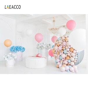 Image 2 - Laeacco יום הולדת Photophone בלוני נייר פרחים נברשת פנים דקור צילום תפאורות תמונה רקע Photozone