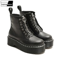 Punk Women Gothic Thick Platform Shoes Boots Zip Motor Biker Leather Ankle Boots Preppy Footwear Block Med Heels Shoes