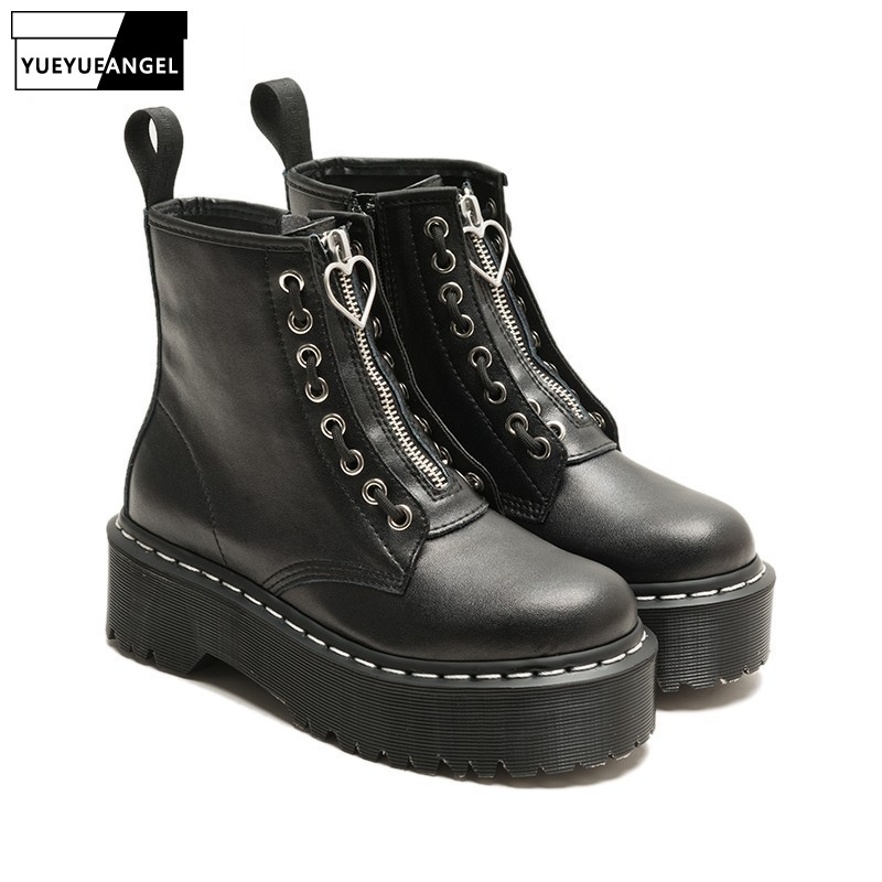 Punk femmes gothique épaisse plate-forme chaussures bottes Zip moteur Biker en cuir bottines Preppy chaussures bloc Med talons chaussures