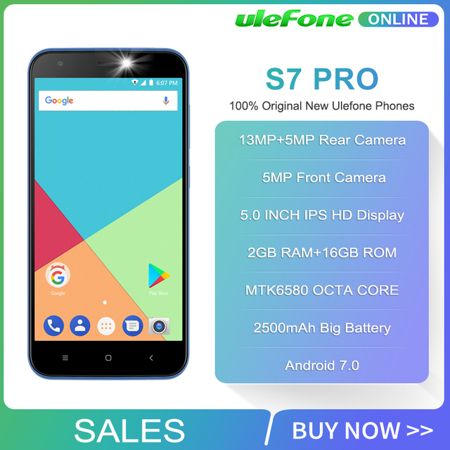 Ulefone S7 Pro Smartphone 13MP Dual Rear Cameras MTK6580 Quad Core 2GB RAM 16GB ROM 3G WCDMA 5.0″ HD 2500mAh Mobile Phone