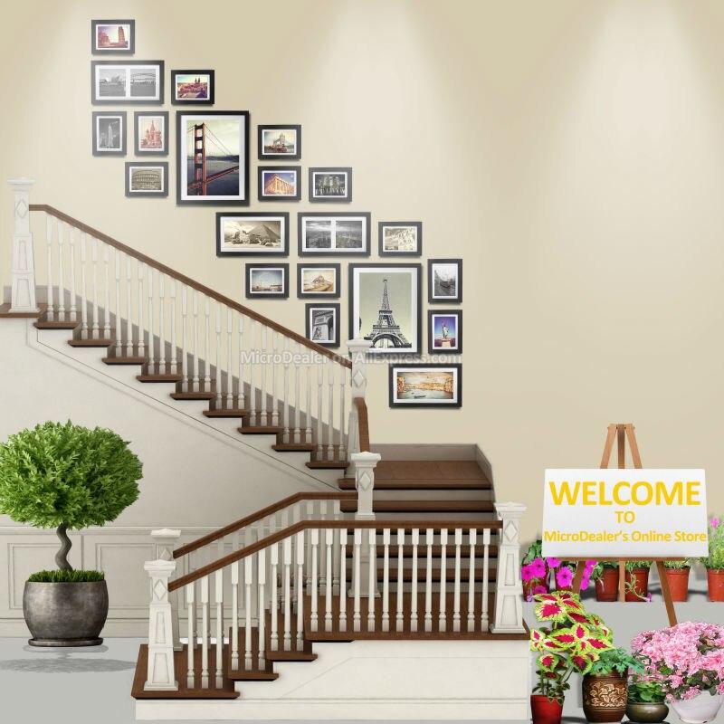 escalera de pared marcos de fotos pulgadas marco de madera decorativo