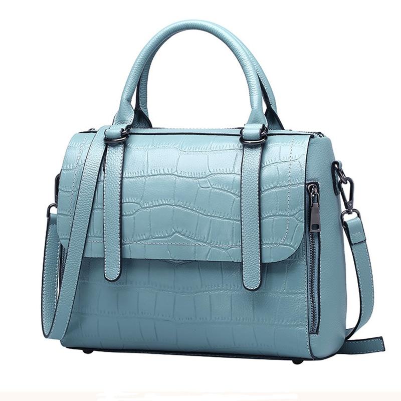 Women Bag Women's Handbag Genuine Leather Cowhide Shoulder Messenger Bag Crossbody Handbag Crocodile Pattern Rivets Fashion New women s handbag 2015 fashion vertical cowhide messenger shoulder bag viney