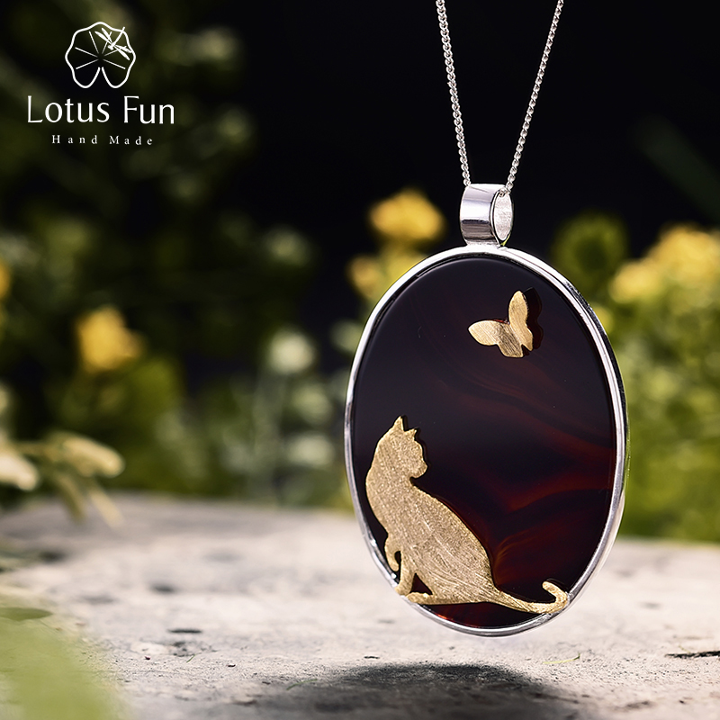 Lotus Fun Real 925 Sterling Silver Natural Agate Handmade Fine Jewelry Cat and Butterfly Pendant without Necklace for Women 2 3mm red natural agate necklace multi layers 925 sterling silver with real pearl fine womne jewelry wedding party necklace