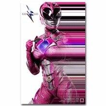 Pink Power Rangers 1687A Novo Filme Luz Adesivo Decoração Da Parede Da Lona  Art Part 97