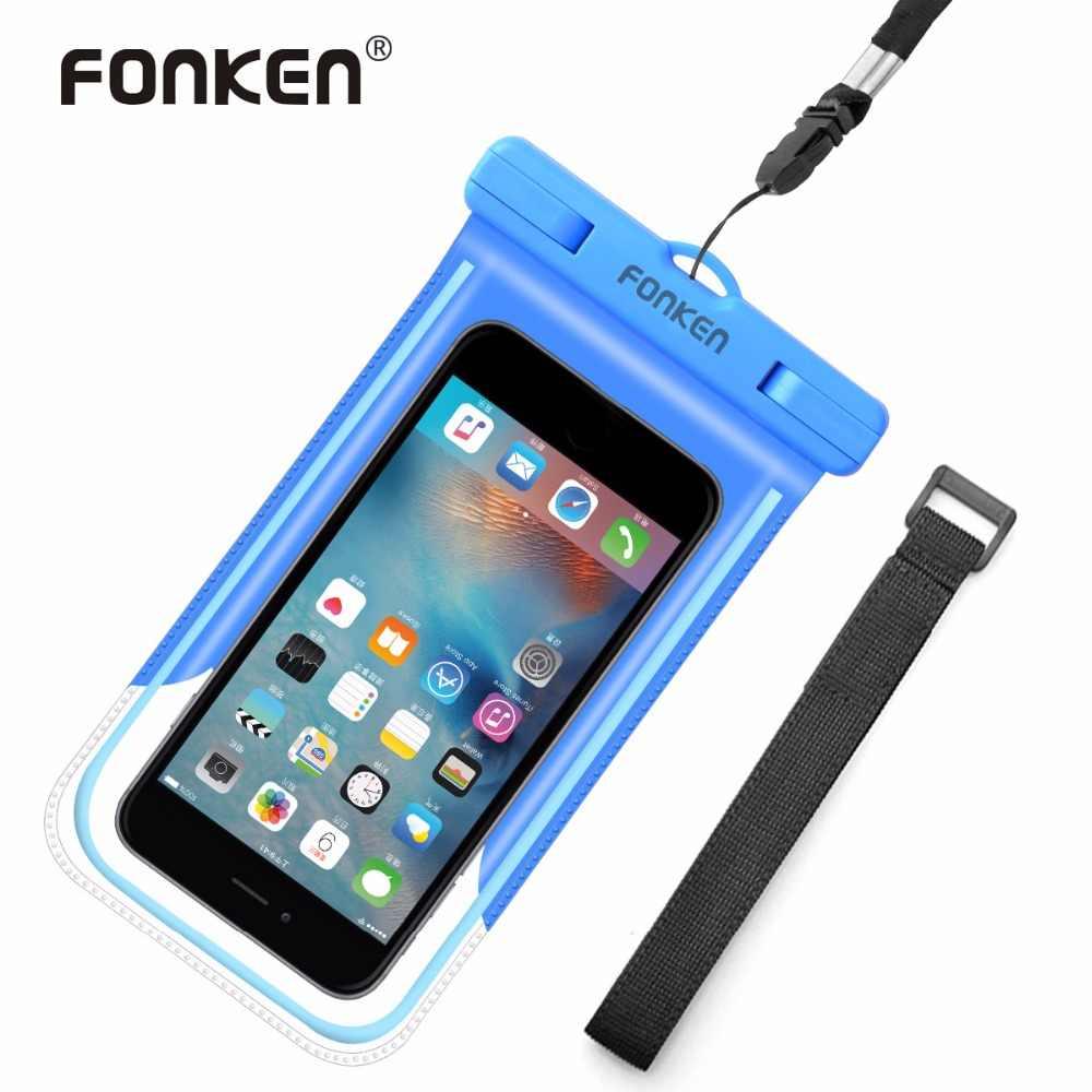 74b246b0e14c FONKEN световой Водонепроницаемый чехол для телефона IPX8 Водонепроницаемый  сумка подводного плавания с повязку чехол для телефона
