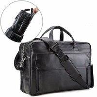 Tiding Men's Nappa Leather Large 17 Laptop Satchel Multi functional Briefcase Messenger Shoulder Bag Bussiness Office Satchel