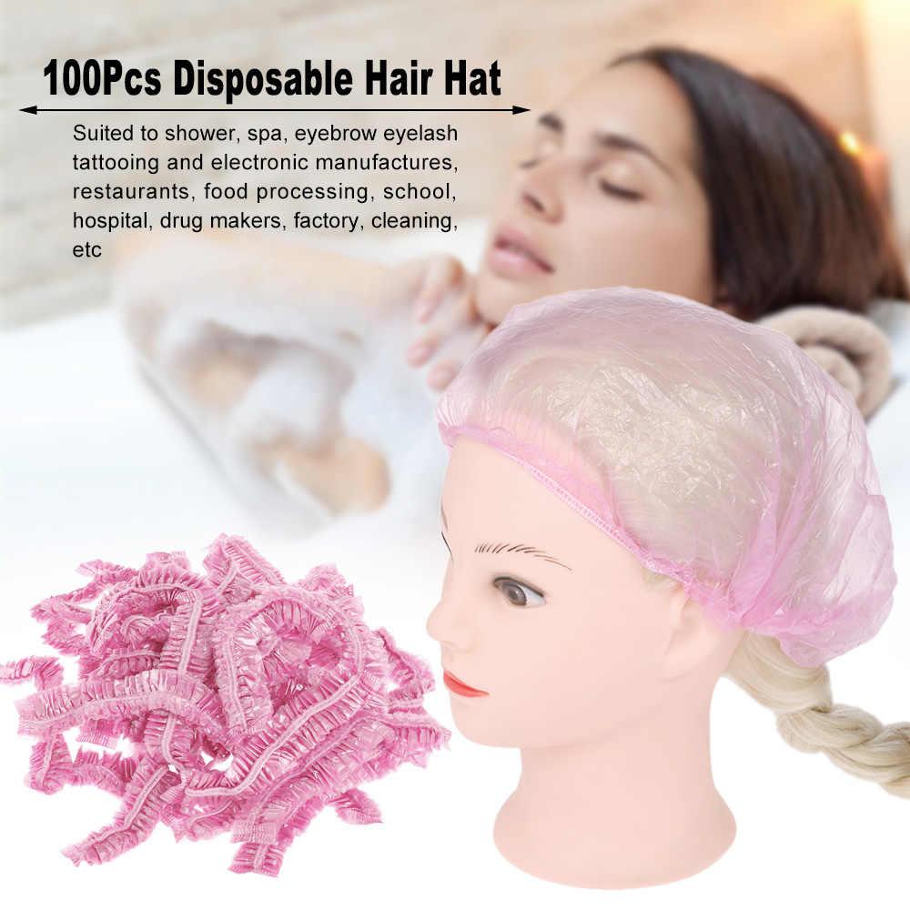100 pièces jetable Salon cheveux casquette Net imperméable tête couverture chapeau en plastique bonnet de douche élastique chapeau pour les installations médicales de cils