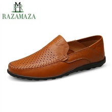 RAZAMAZA Size 38-46 Men Breathable Casual Leather Shoes High Quality Handmade Shoes Daily Classics Flats Shoes Male Footwear