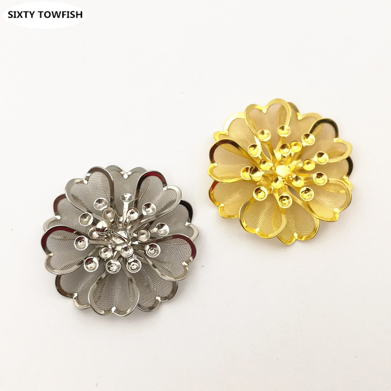3 pcs/lot 39mm Gold color/White K Metal Filigree Flowers Slice Charms Spacers DIY Components Jewelry Findings B103145