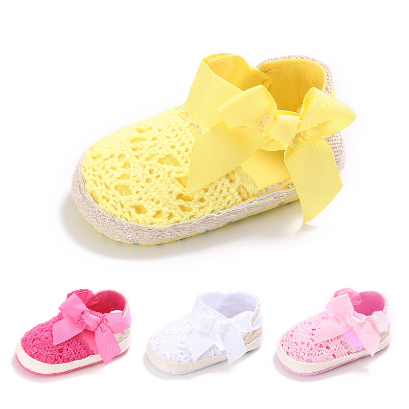 New Sweet Lovely Newborn Baby Princess Girls Kids First Walkers Infant Toddler Summer Soft Soled Big Bow Crib Anti-slip Shoes