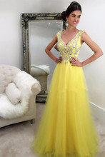 A-line Prom Kleider 2017 V-ausschnitt Sleeveless Zipper Bodenlangen Tüll Mit Kristall Perlen Formale Kleider Lange Abendkleid 2016