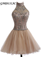 Короткое вечернее платье Gardlilac с лямкой на шее, с кристаллами, Короткое бальное платье, вечернее платье трапециевидной формы с открытой спин