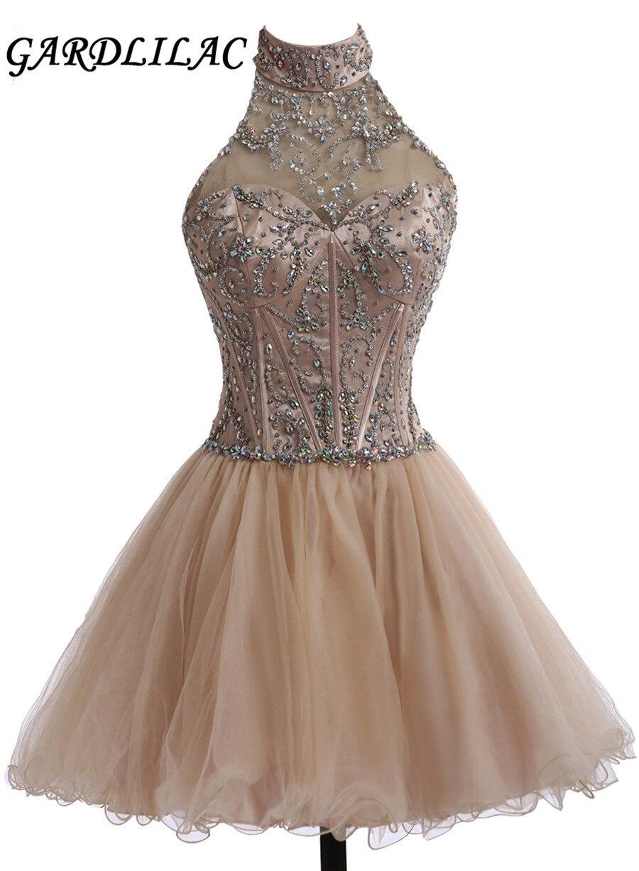 Gardlilac Halter Short Evening Dress with crystals Short Ball Gown Formal Party Drese A-line Backless Vestidos para festa