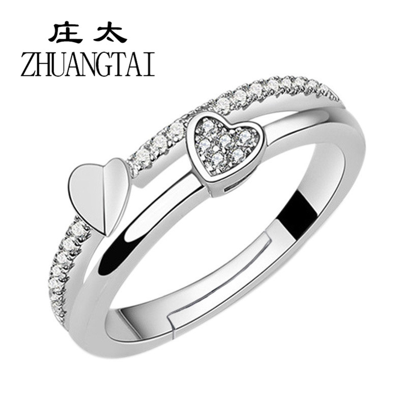 ZHUANGTAI Jewelry Double Heart Trendy Love Rings for Women Cubic Ziconia Adjustable Wedding Engagement Ladies Dames Finger Rings