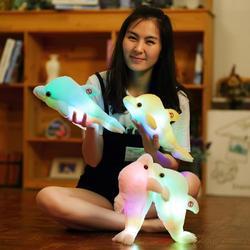 1 stücke 32cm LED Beleuchtung Stofftier Leucht Plüsch Spielzeug Gestopft Delphin Baby Schlafen Spielzeug Geburtstag geschenk Für Kinder