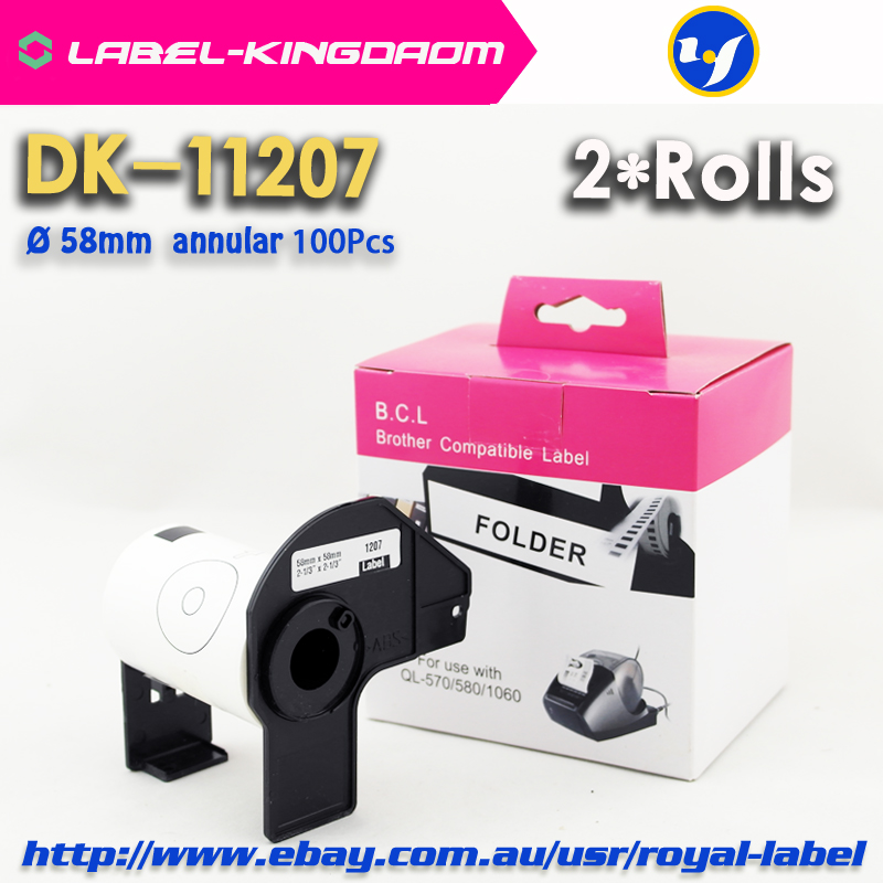 2 Refill Rolls Compatible DK 11207 Annual CD Label 58mm Diameter 100Pcs Compatible for Brother Label Printer White Paper DK 1207