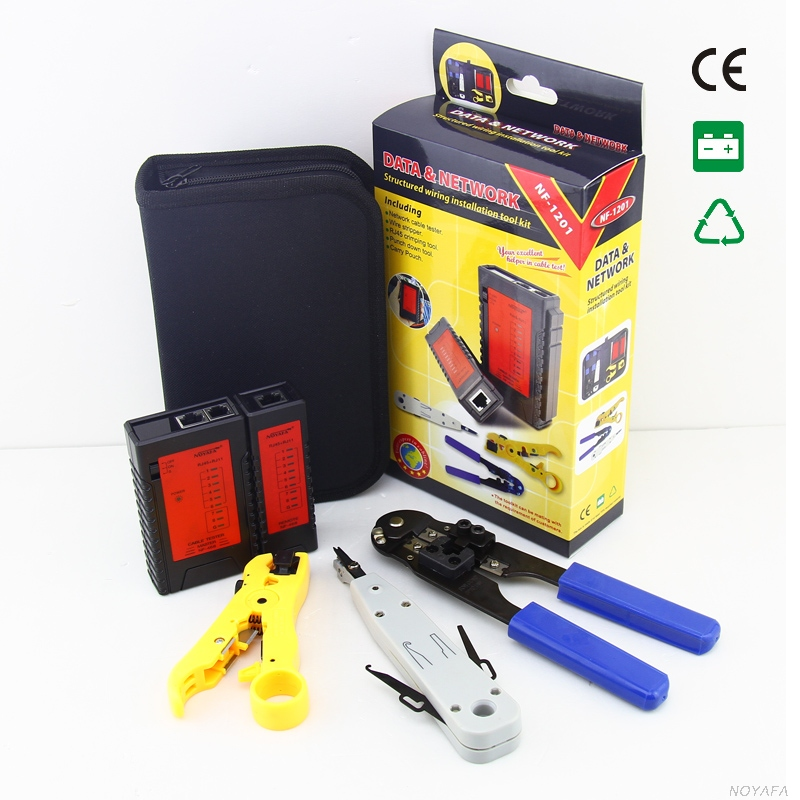 Stripper Cable Cutter Network Installer Kit Case RJ45 Crimper Punch Tool