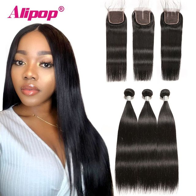 Alipop Hair Straight Hair Bundles With Closure Peruvian Hair 3 Bundles With Closure Remy 100% Human Hair Bundles With Closure