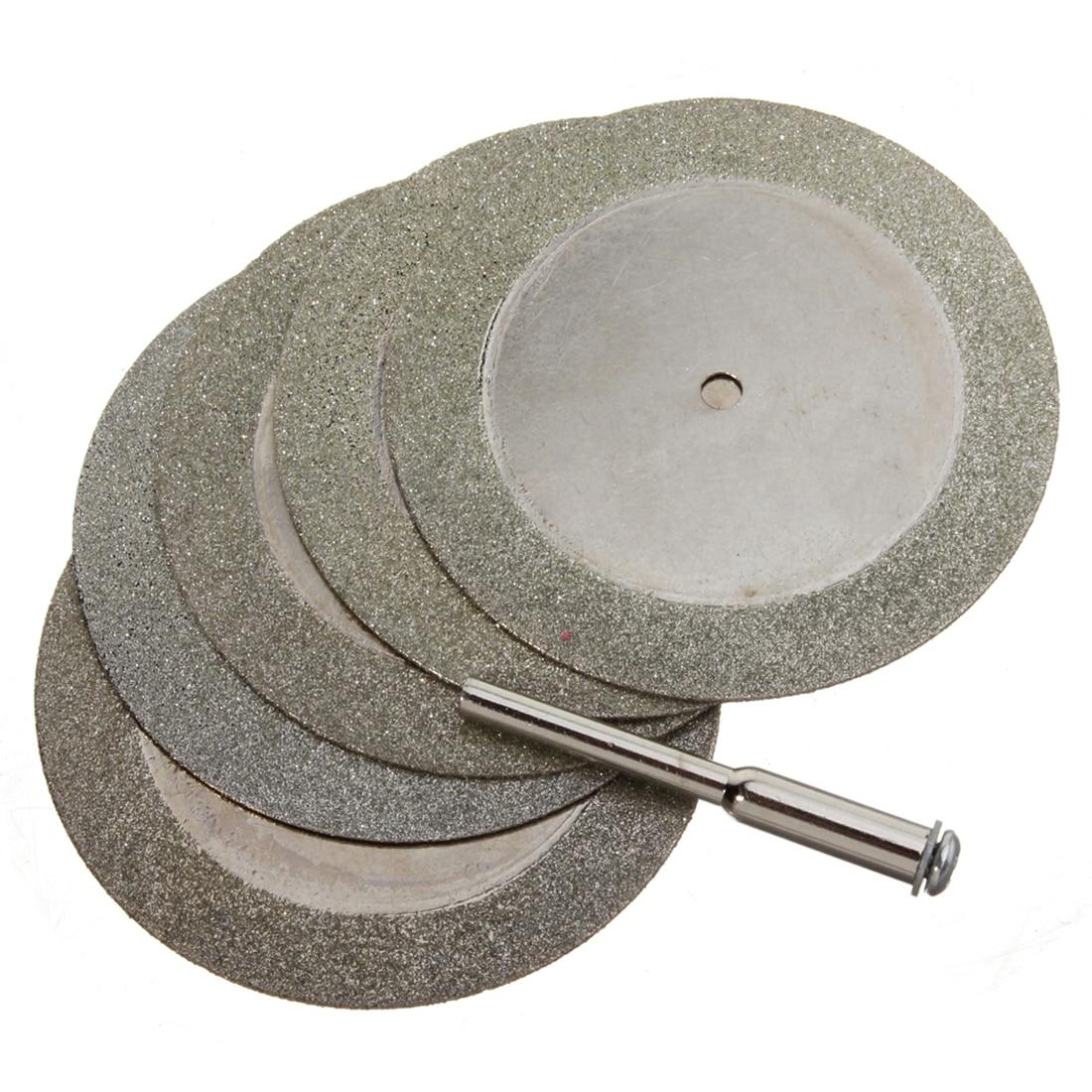 New 5pcs 50mm Diamond Cutting Discs & Drill Bit For Rotary Tool Glass Metal