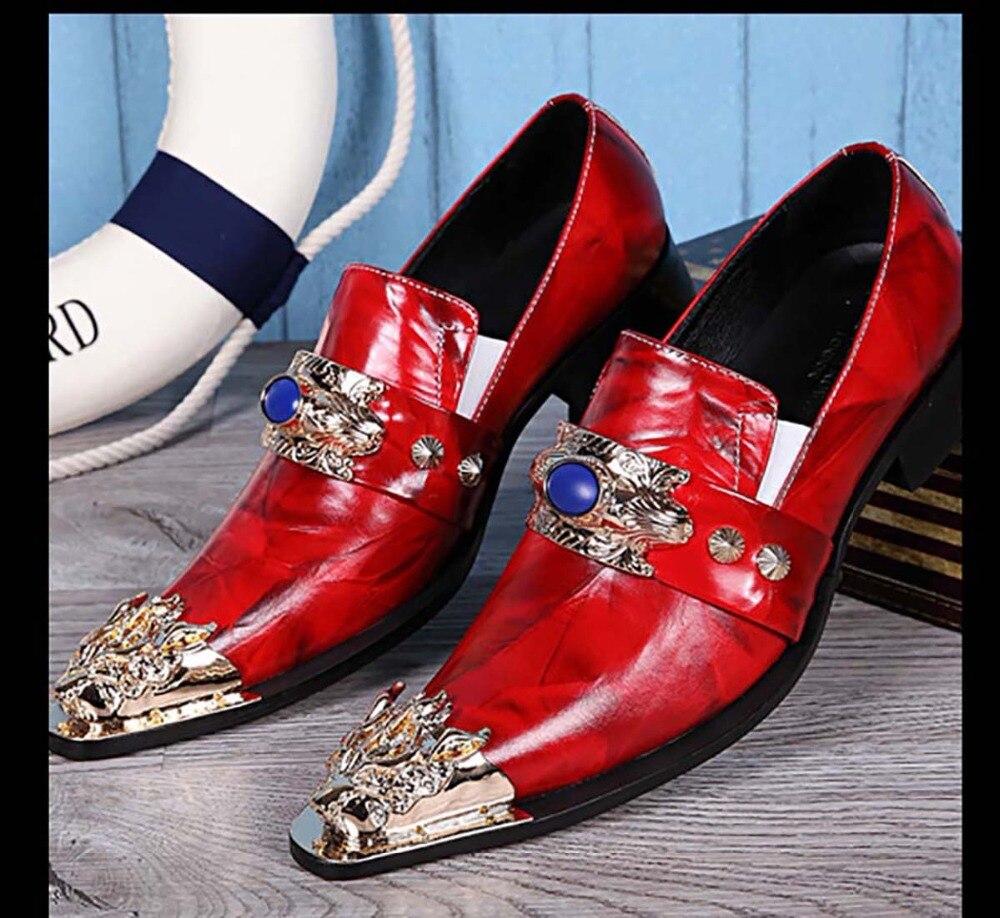 Européia Dos Tigre Preto Estilo Personalidade Vermelho Homens Versão De Britânicos Maré Ferro Metal Couro Apontou Cabeça vermelho Sapatos Espanhol 1d0q0