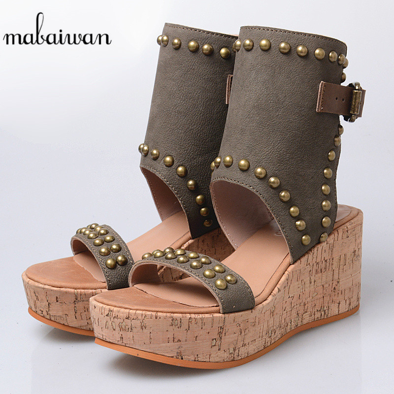 Mabaiwan Women Shoes Genuine Leather Summer Sandals Casual Platform Wedge Shoes Woman Rivets Gladiator Wedges Breathable Sandal female gladiator wedges sandal hallow out platforms high wedge shoes women rivets summer sandal beach vintage women size 34 39