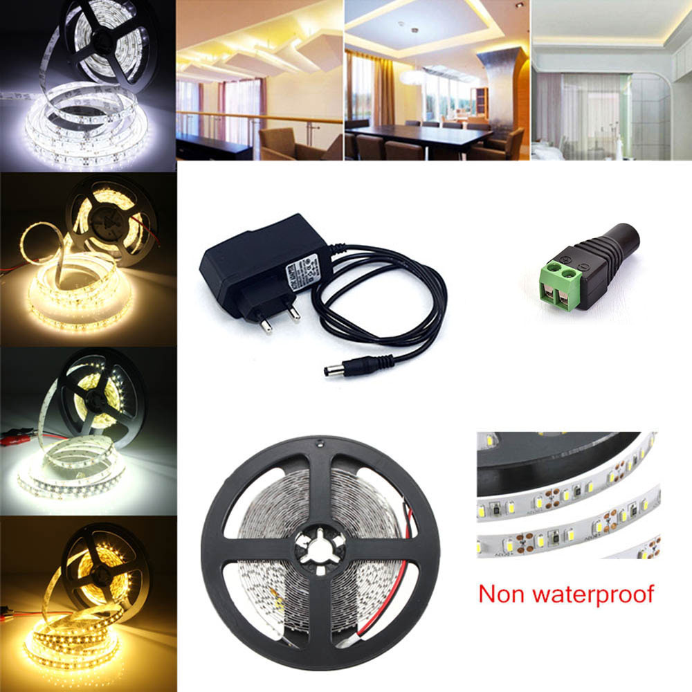LED Strip Light DC12V 5M 300 Leds SMD 3528 Diode Tape with 12V Power Adapter Supply High Quality LED Ribbon Flexible Ledstrip 10m 5m 3528 5050 rgb led strip light non waterproof led light 10m flexible rgb diode led tape set remote control power adapter