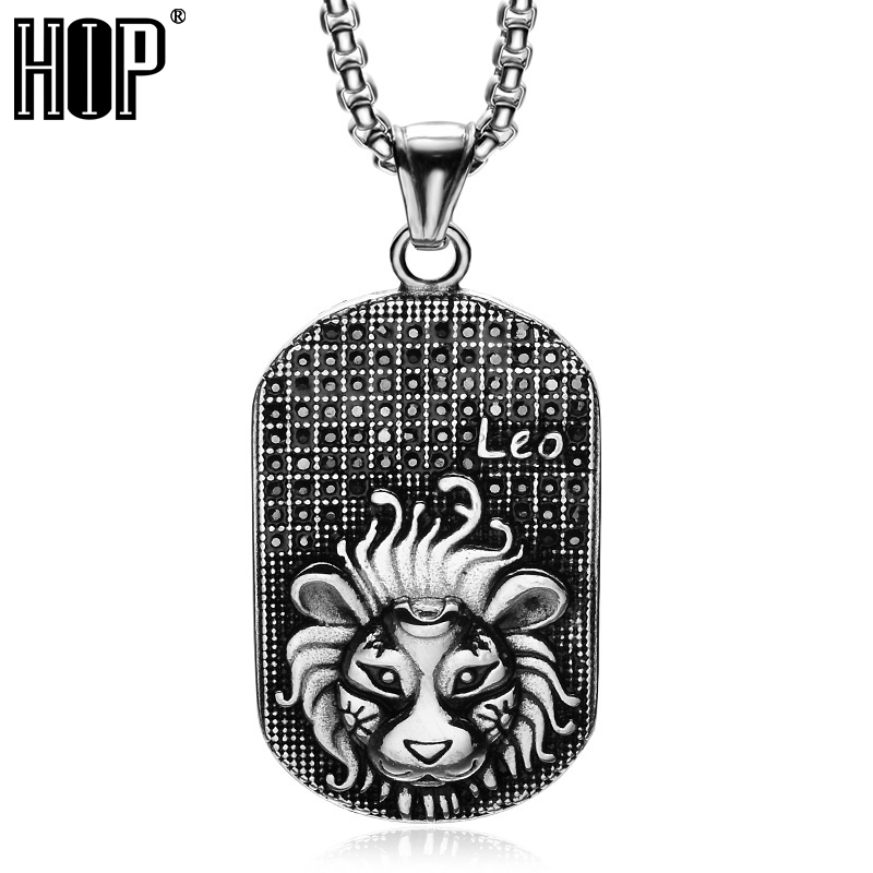 HIP Punk Casting Titanium Stainless Steel 12 Zodiac Signs Amulet Cancer Constellations Pendants Necklaces for Men Jewelry