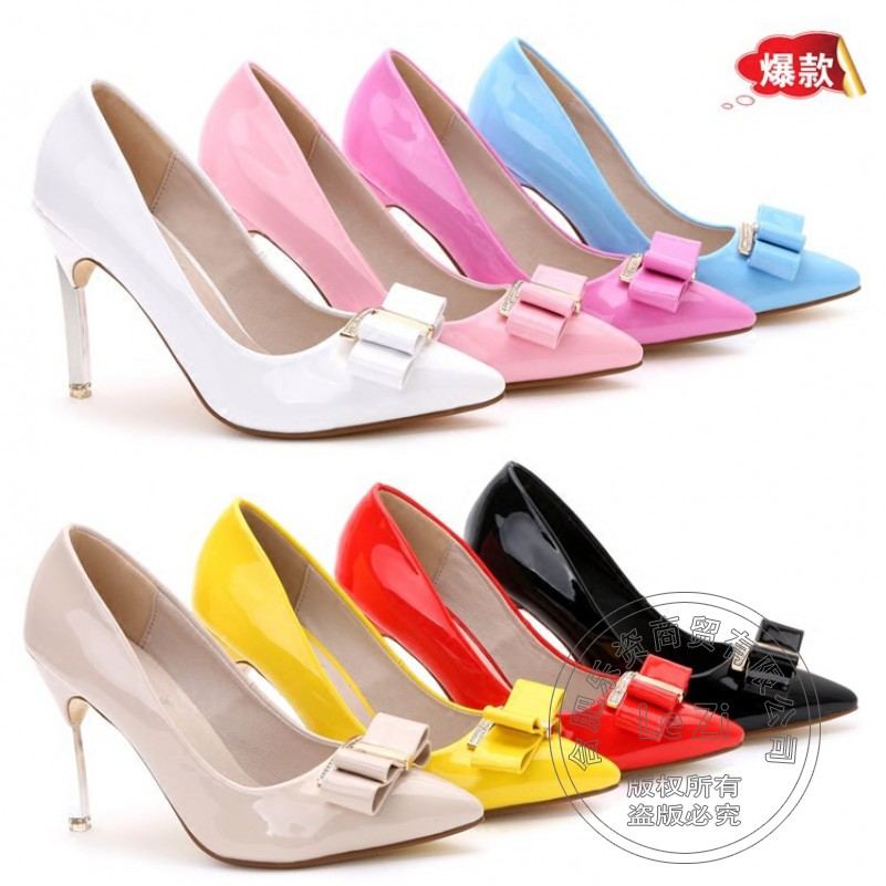 Nude Yellow Slip On Patent Leather Stiletto Bows Bow Tie Rhinestone Wedding font b Women b