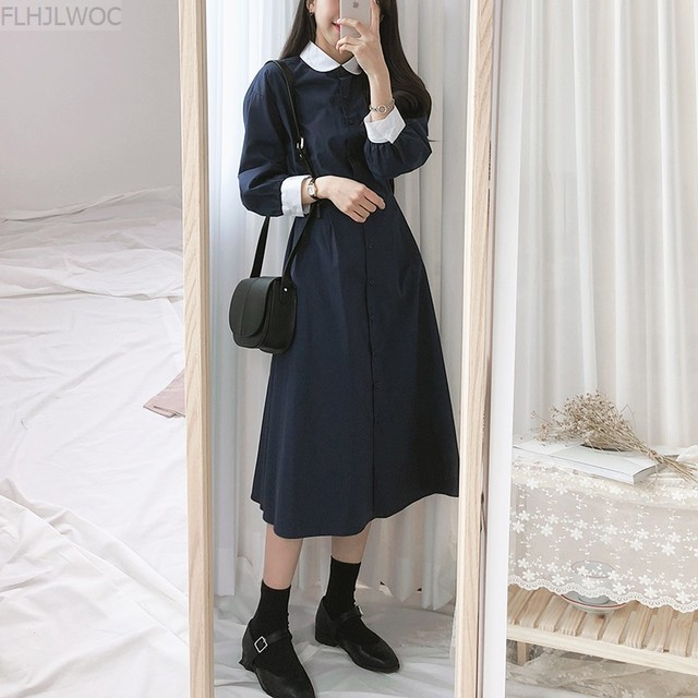 Peter Pan Collar Dresses Hot Sales Women Japan Korean Temperament Preppy Style Girls Lady Blue A Line Vintage Dress Long 6110 4